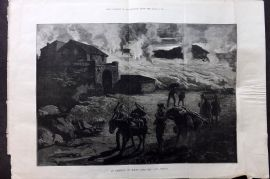 ILN 1880 LG Print. An Eruption of Mount Etna - The Lava Stream, Sicily Italy